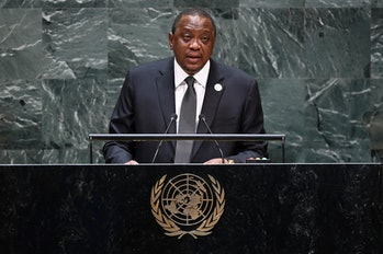 Kenyan President Uhuru Kenyatta, seen here speaking at the United Nations. Kenyatta has been a major proponent of bringing Loon to rural Kenyans.