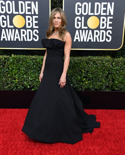 Jennifer Aniston wearing a black Dior Haute Couture gown at the 2020 Golden Globe Awards.