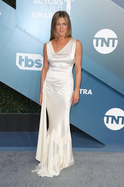 Jennifer Aniston wearing a white Dior dress at the 2020 SAG Awards.