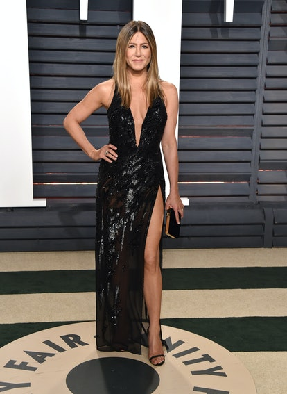 Jennifer Aniston wearing a Atelier Versace dress at the 2017 'Vanity Fair' Oscars Party.