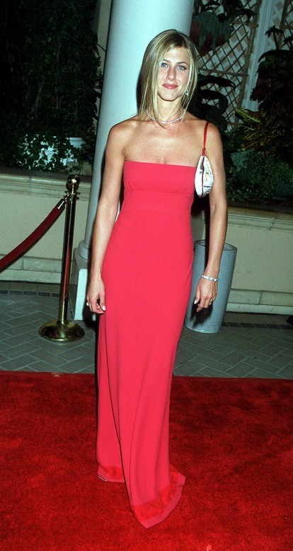 Jennifer Aniston wearing a rose-colored gown at the 2000 Emmys.