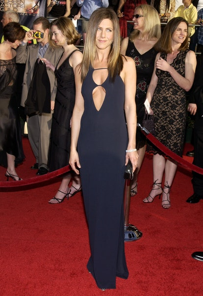 Jennifer Aniston wearing a navy blue cutout dress at the 2003 Screen Actors Guild.