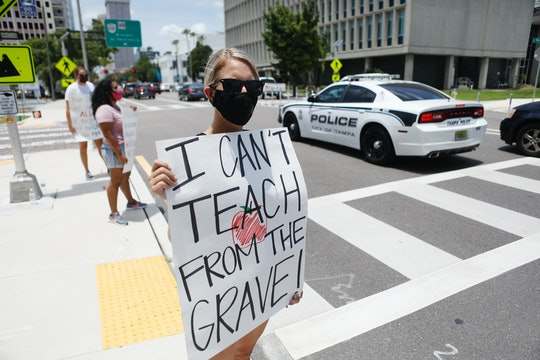 Teachers are protesting schools reopening during the coronavirus pandemic.