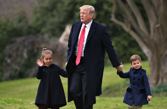 """Speaking to reporters from the White House on Wednesday, President Donald Trump said he felt """"comfortable"""" sending his son and grandkids to school for in-person learning in the fall."""