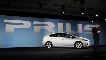 The Toyota Prius, the world's first mainstream hybrid vehicle. Its battery used nickel.