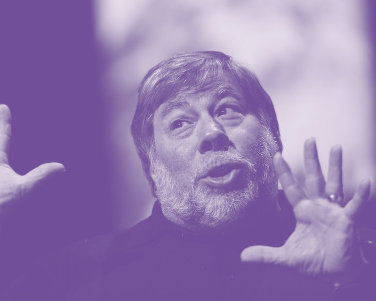Apple co-founder Steve Wozniak is pictured using hand gestures while speaking.