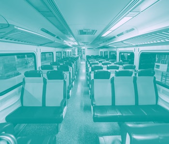 The interior of an empty MTA train carriage.