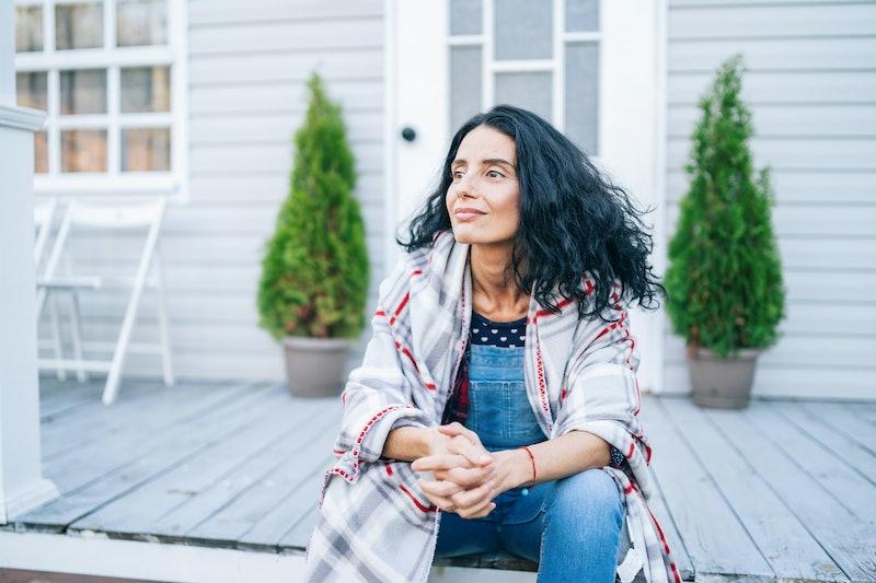 woman, outside, alone