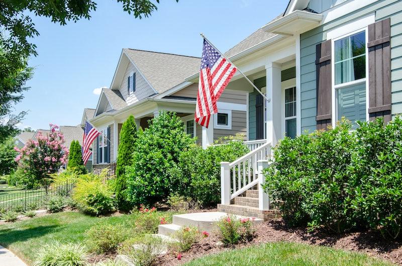 american flag, suburb, america