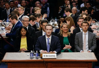 Mark Zuckerberg appearing before Congress.