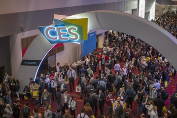 A crowd in the halls at CES in Las Vegas.