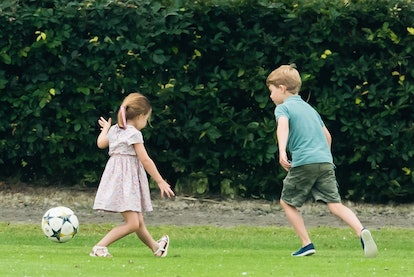 Prince George was spotted playing soccer with his younger sister during a polo match in 2019.