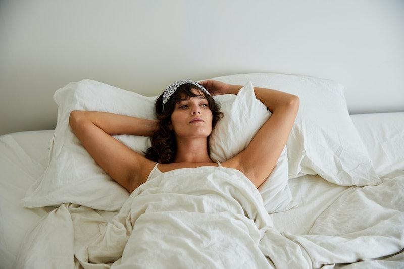 woman, bed, pondering