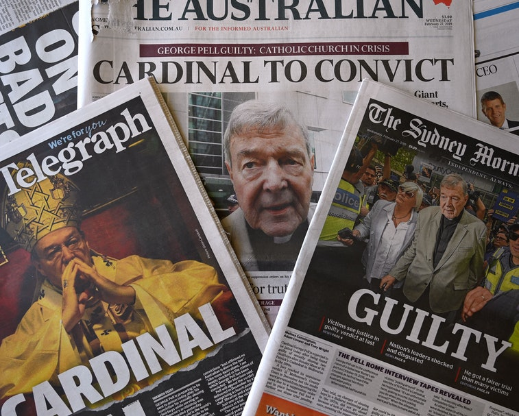 A stack of Australian newspapers can be seen on top of each other, including The Australian, The Sydney Morning.