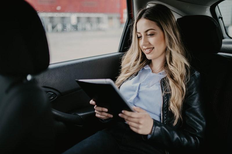 woman, car, reading
