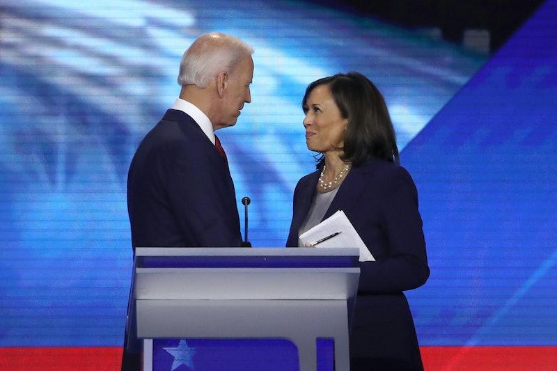 Vice President Joe Biden and Sen. Kamala Harris during a Democratic presidential debate.