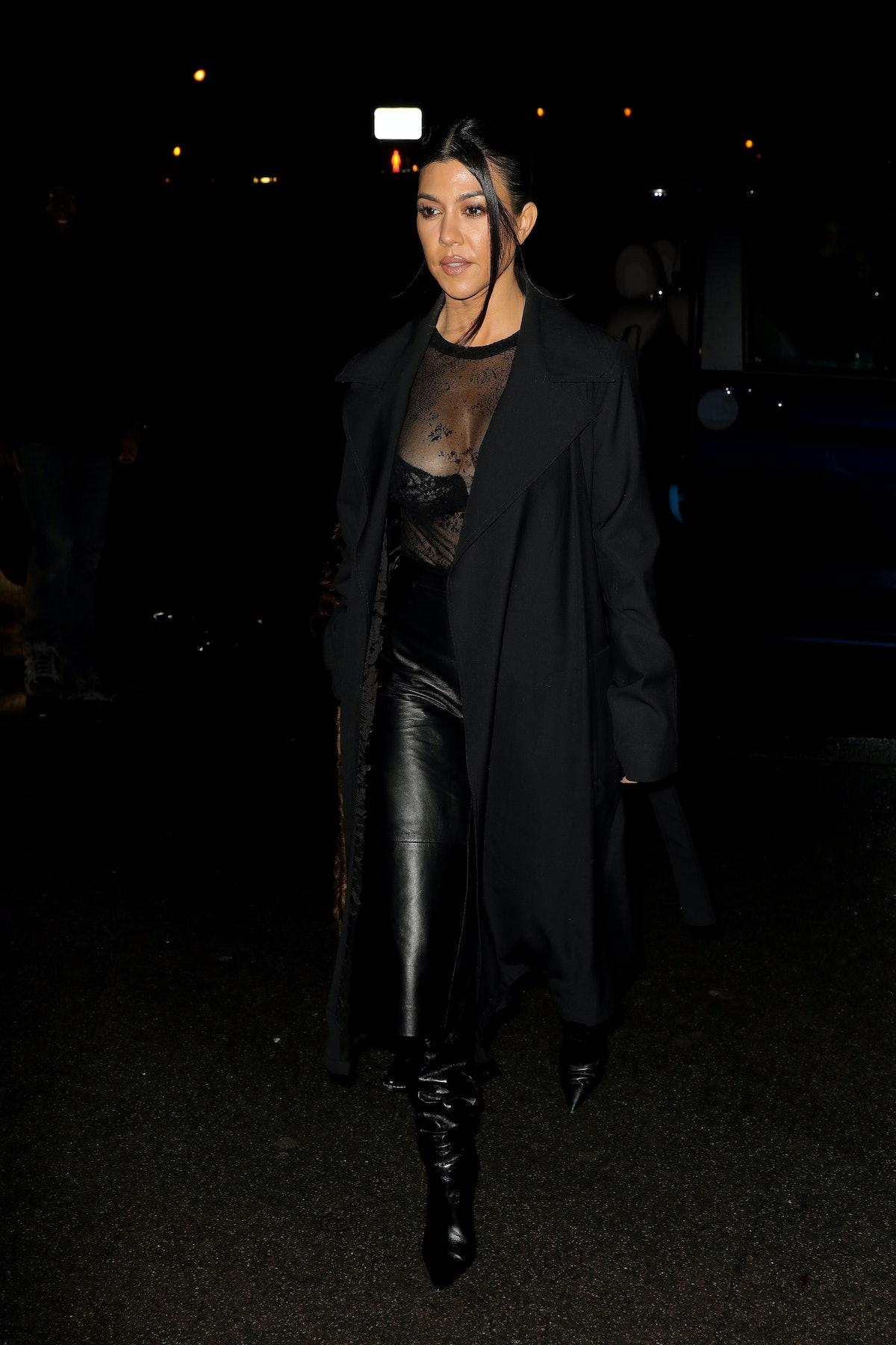 Kourtney Kardashian steps out in an all black ensemble.