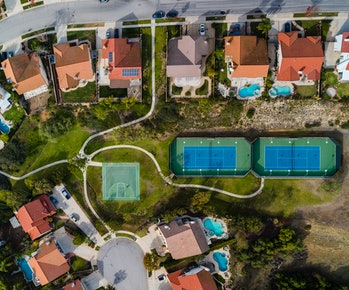 Green space in Los Angeles, seen here from a bird's eye view, is often dependent on financial and racial status.
