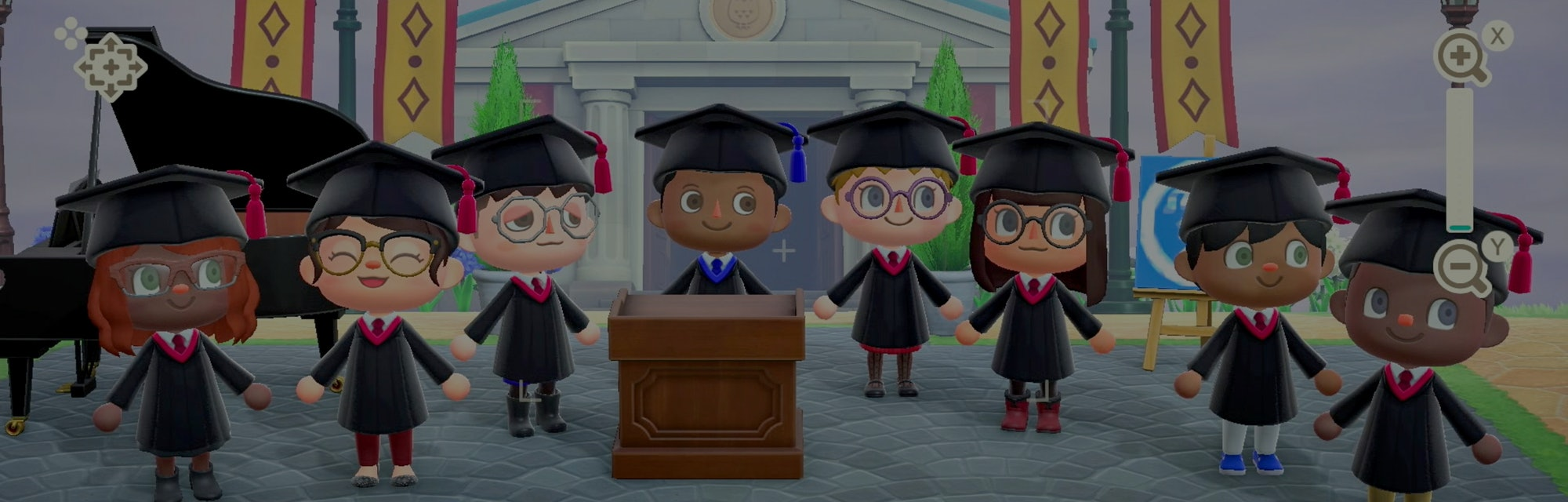A group of different Animal Crossing players can be seen attending a virtual graduation. Each character is wearing the typical graduation garb, including hats and gowns. Several of them have eyeglasses.