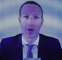 A close-up of Mark Zuckerberg on a screen.