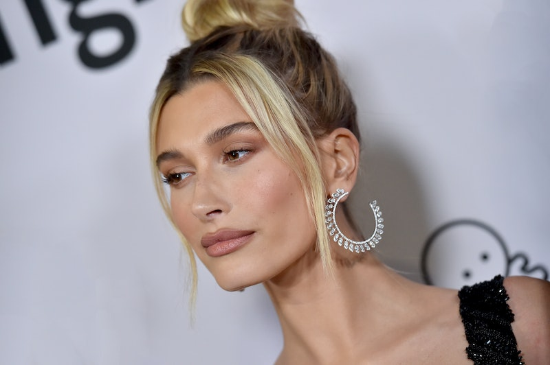 Hailey Bieber shared a fresh look on Instagram featuring a lavender-colored cat-eye.