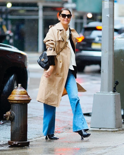 Katie Holmes wearing Chanel bag while out in New York City.
