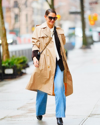 Katie Holmes wore a trench coat and jeans while out in New York City.