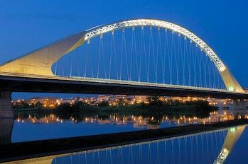 The Lusitania Bridge in Merida, Spain, designed by Santiago Calatrava.