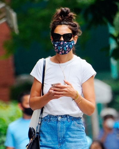 Katie Holmes wearing Prada sunglasses while out in New York City.