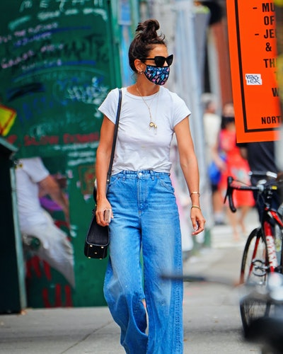 Katie Holmes wore jeans and a white t-shirt while out in New York City.