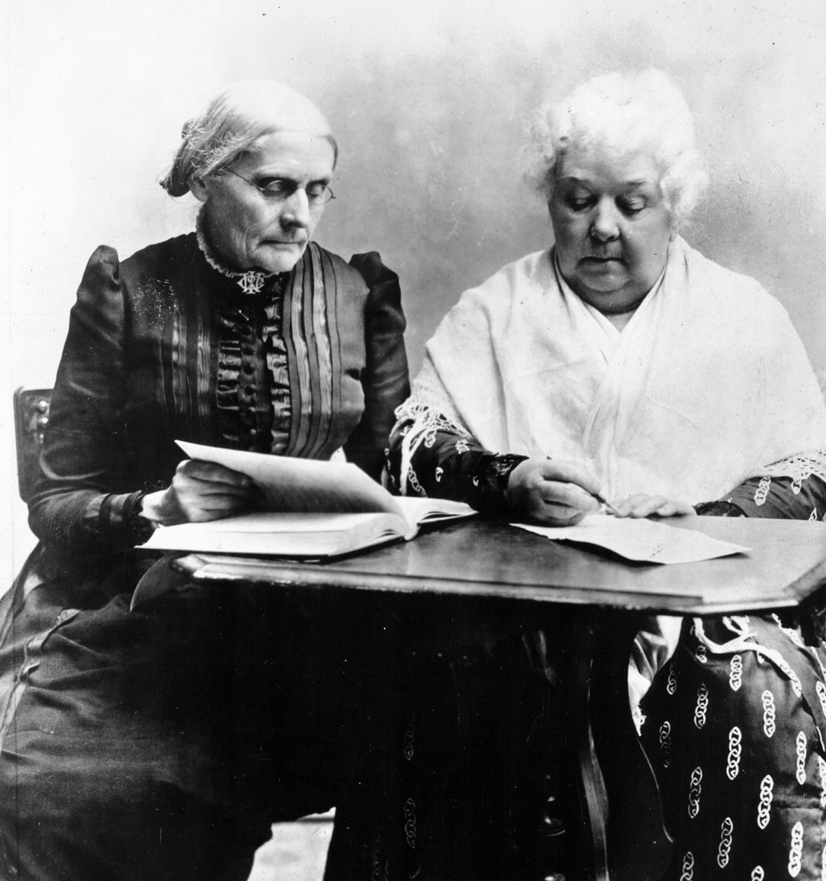 Elizabeth Cady Stanton writes the Declaration Of Sentiments during the history of women's suffrage.