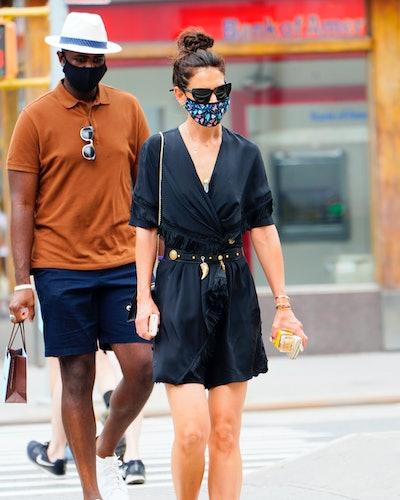 Katie Holmes wearing Birkenstocks while in New York City.
