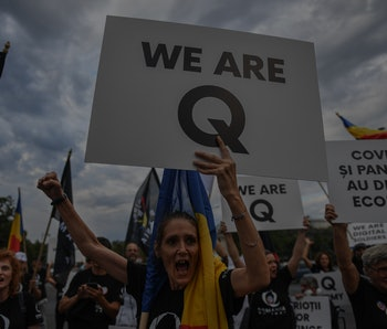 """A woman can be seen standing in a rally, carrying a big sign that reads: """"We are Q."""" The Q denotes QAnon, a right-wing conspiracy movement that favors Donald Trump."""