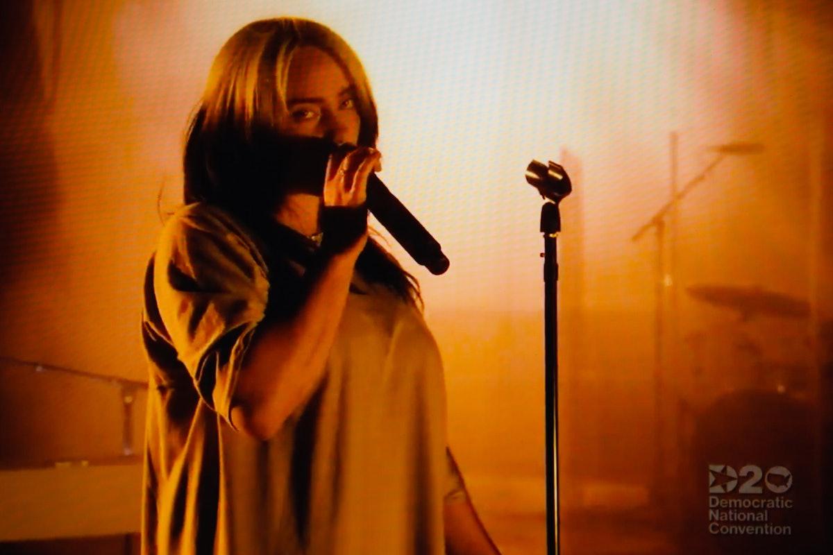 Billie Eilish performs at the 2020 DNC.