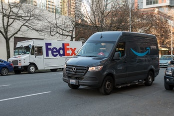 FedEx and Amazon prefer to operate in urban areas to keep costs down and efficiency up. They both rely on the Postal Service for delivery to rural areas.