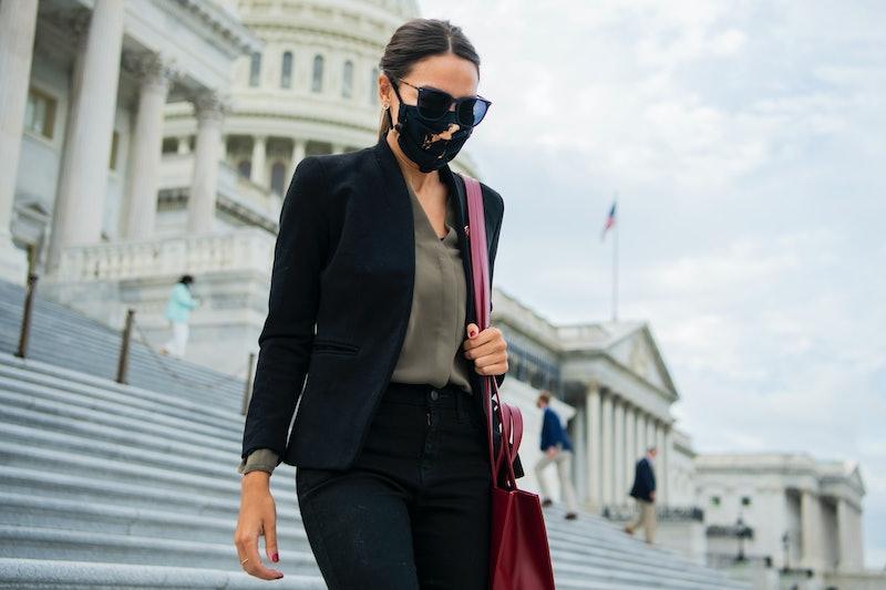 AOC on Capitol Hill wearing Telfar