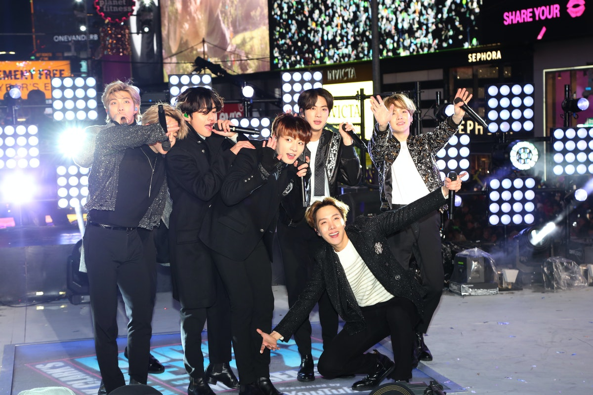 BTS performs live on New Year's Eve.