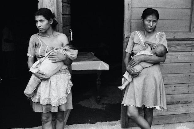 two women breastfeeding their children in an El Salvadoran refugee camp in 1981