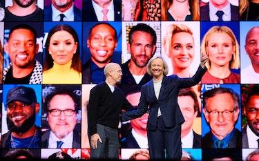 Jeffery Katzenberg and Meg Whitman at the Quibi launch announcement.