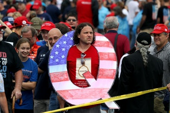 A Q Anon supporter looking like the fool they likely are