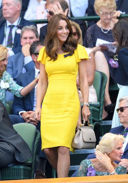 Kate Middleton Duchess of Cambridge yellow dress wimbledon