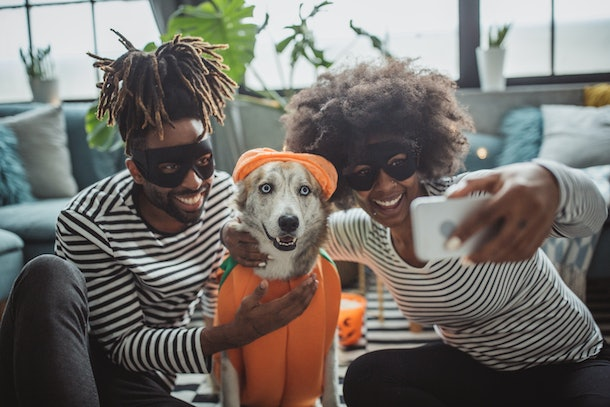 A couple in their matching Halloween costumes, pose for a selfie with their dog dressed as a pumpkin.