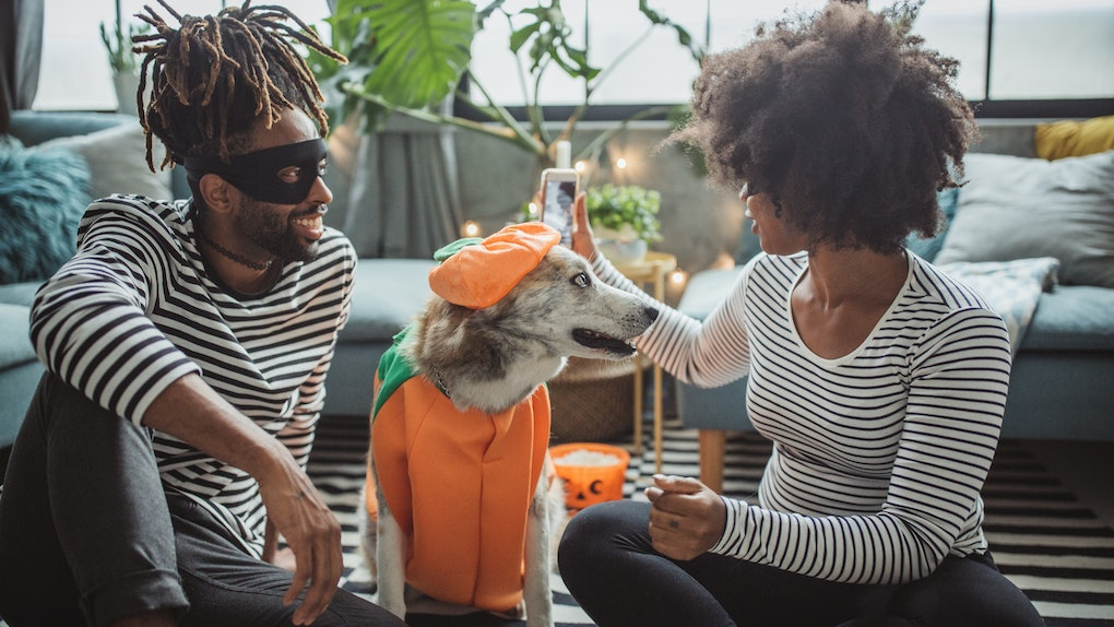 A young Black couple sits on the floor of their living room with their dressed-up dog, and wears matching outfits for Halloween.