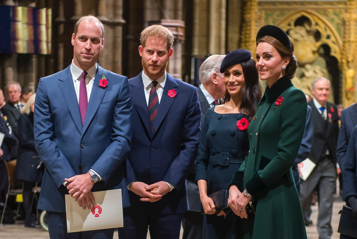 Prince William, Prince Harry, Meghan Markle, and Kate Middleton attend a royal event.
