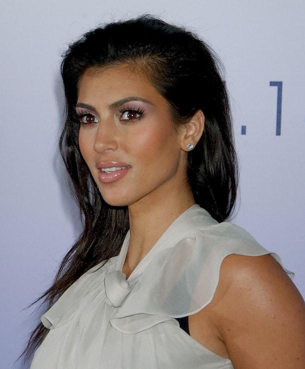 Kim Kardashian rocks lilac eyeshadow.