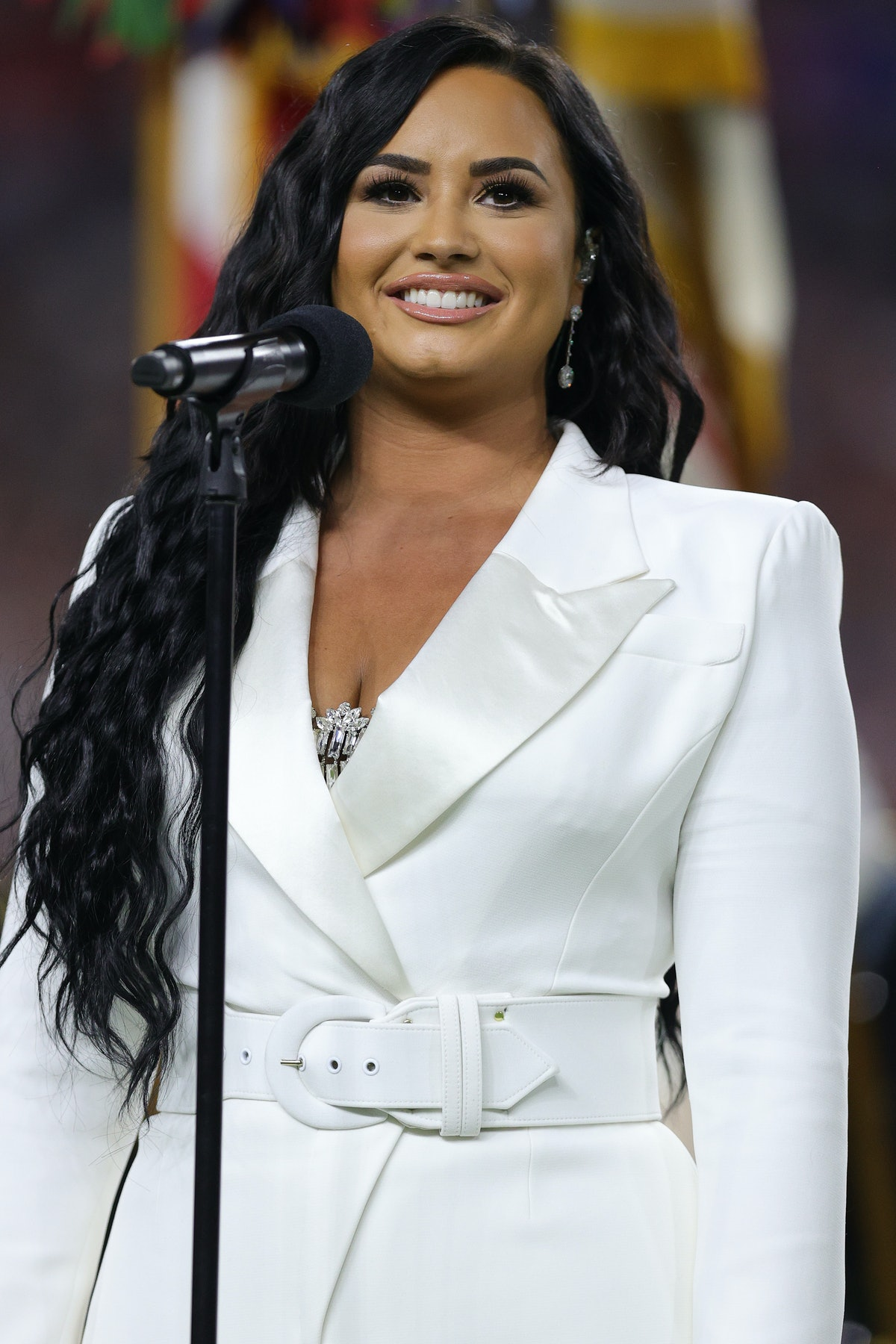 Demi Lovato performs the National Anthem at the Super Bowl.