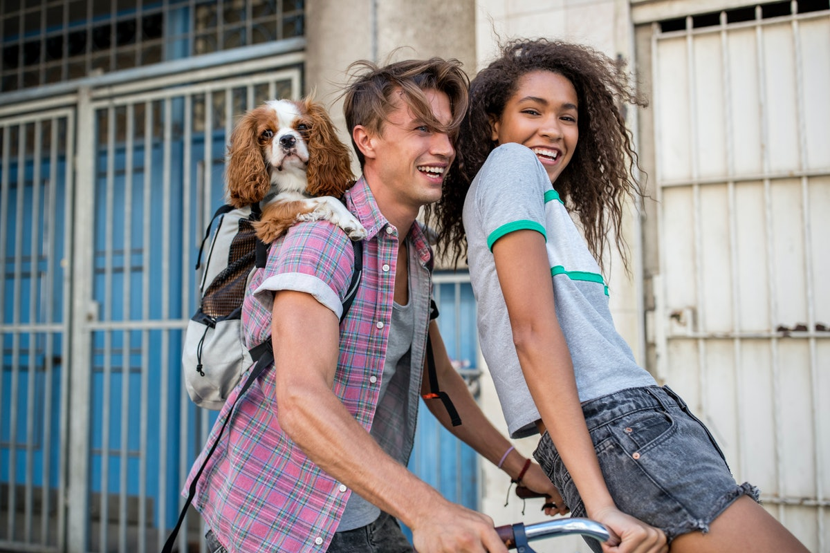 A young Black woman rides on her crush's handlebars while a dog hangs out in his backpack.