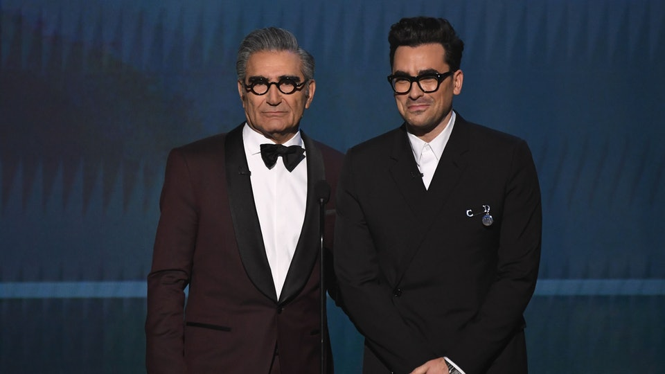 Dan Levy's reaction to his dad Eugene's Emmy win was too sweet