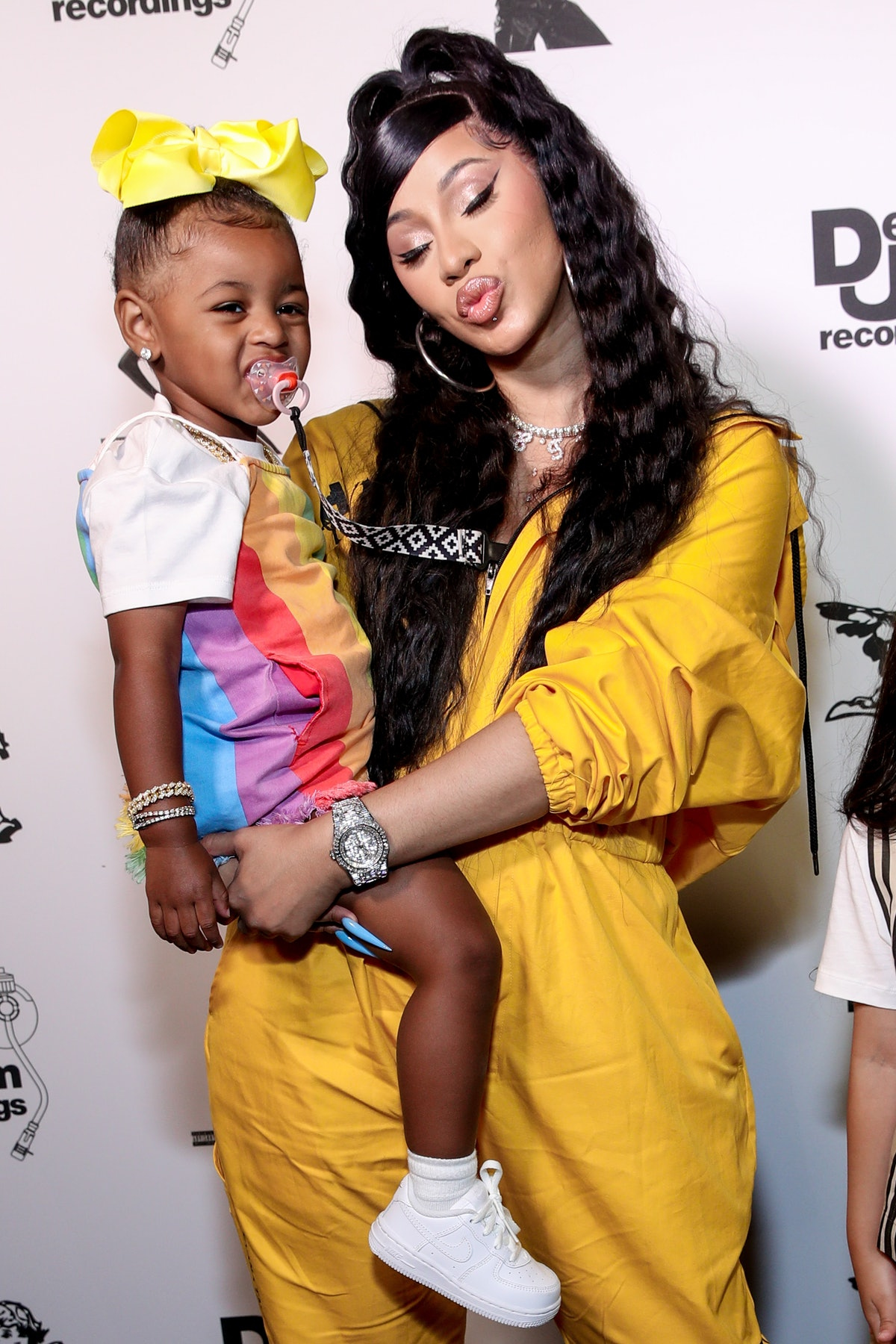 Cardi B and daughter Kulture attend an event for Def Jam records.