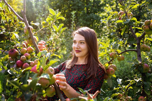 A woman in an apple orchard smiles on a sunny day.